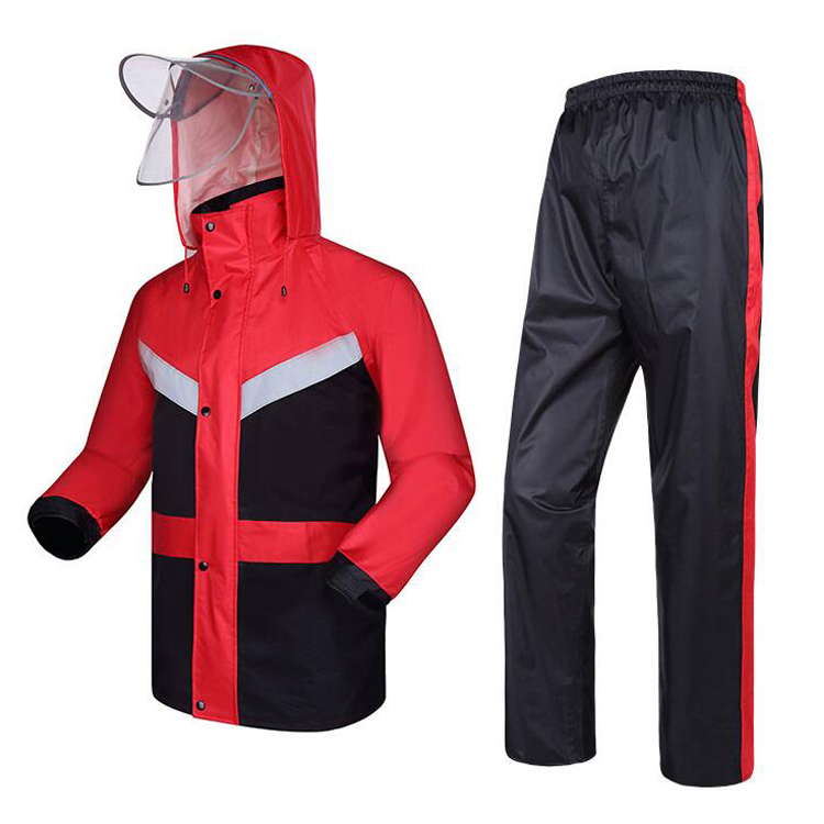 New men's red rain wear waterproof jacket with pant reflective rain suit free shipping free shipping george children raincoat puddlesuit waterproof breathable kids splashsuit rain coverall rain pant rain sliker