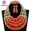 Christmas African Coral Jewelry Beads Set Luxury 4 Step Nigerian Wedding Bridal Statement Jewelry Set Women Gift Free ShipABL809
