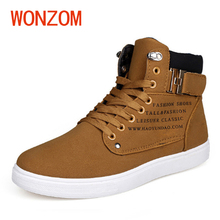 Фотография WONZOM 2017 New Fashion Men Shoes Comfortable High Top Casual Shoes For Men Breathable Lace Up Adults Shoes Gift Size 39-44