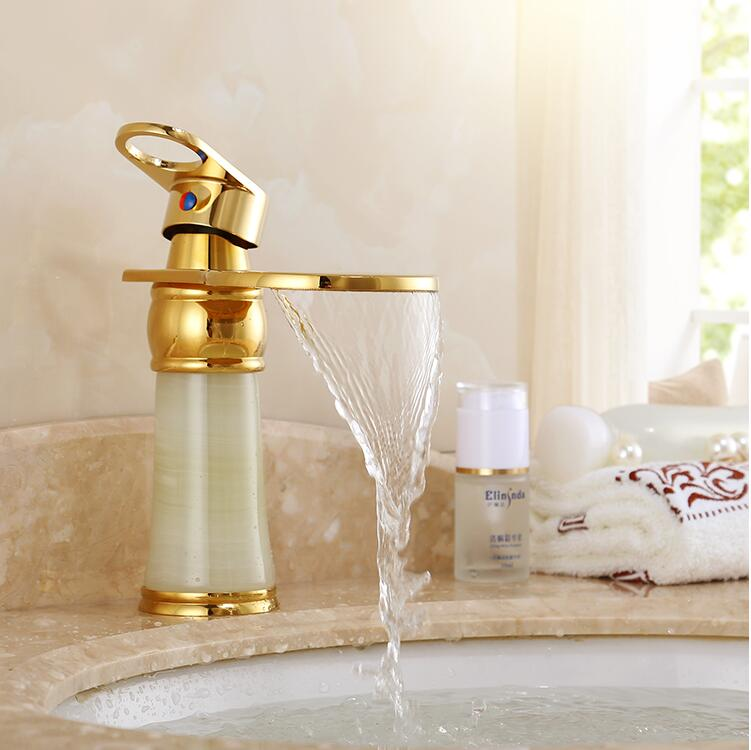 Gold Bathroom Faucet hot and cold Crane Brass and Jade Basin Faucet Waterfall Faucet Sink Faucet Single Handle water tap led color changing brushed nickle basin faucet hot and cold water faucet waterfall spout dual handle tap