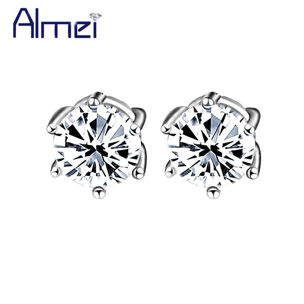 Almei Fashion Luxury White/Purple Stone Earrings for Men/Women Silver Color Small Lot Earring Set Pendientes Punk Jewelry R109P
