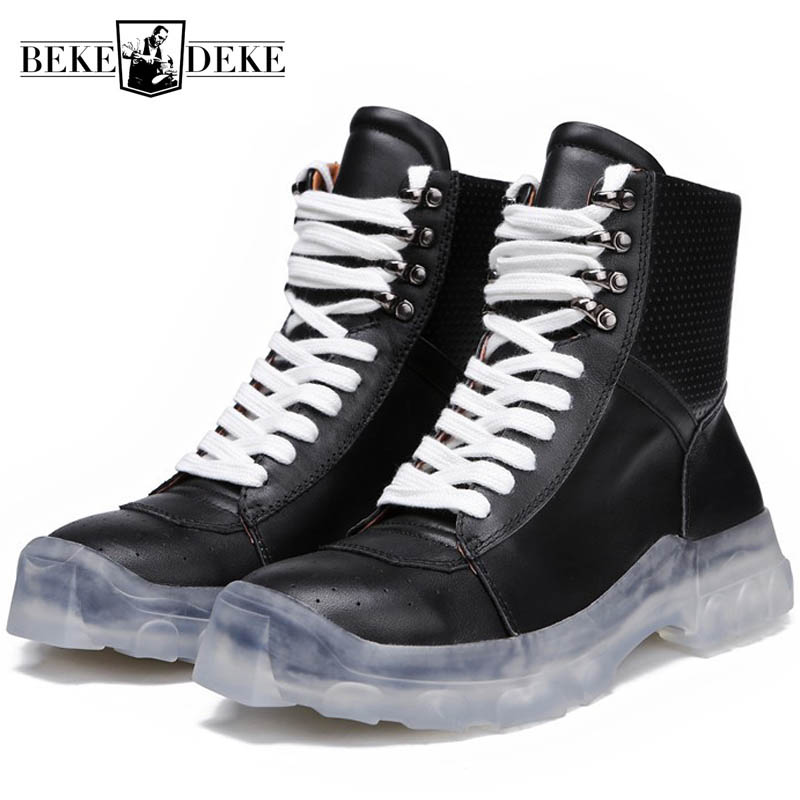 Genuine Leather Thick Platform Shoes Men Winter Lace Up High Top Casual Sneakers High Street Ankle Army Boot Men Black Plus SizeGenuine Leather Thick Platform Shoes Men Winter Lace Up High Top Casual Sneakers High Street Ankle Army Boot Men Black Plus Size