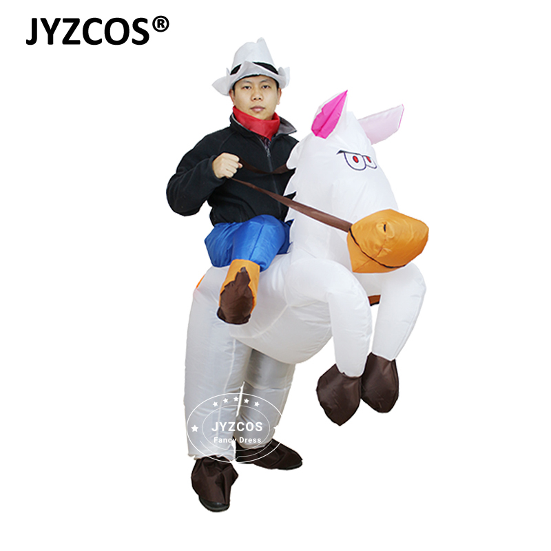 jyzcos purim halloween costumes for woman adult kids girls boy outfits inflatable cowboy ride horse costumes cosplay fancy dress in holidays costumes from