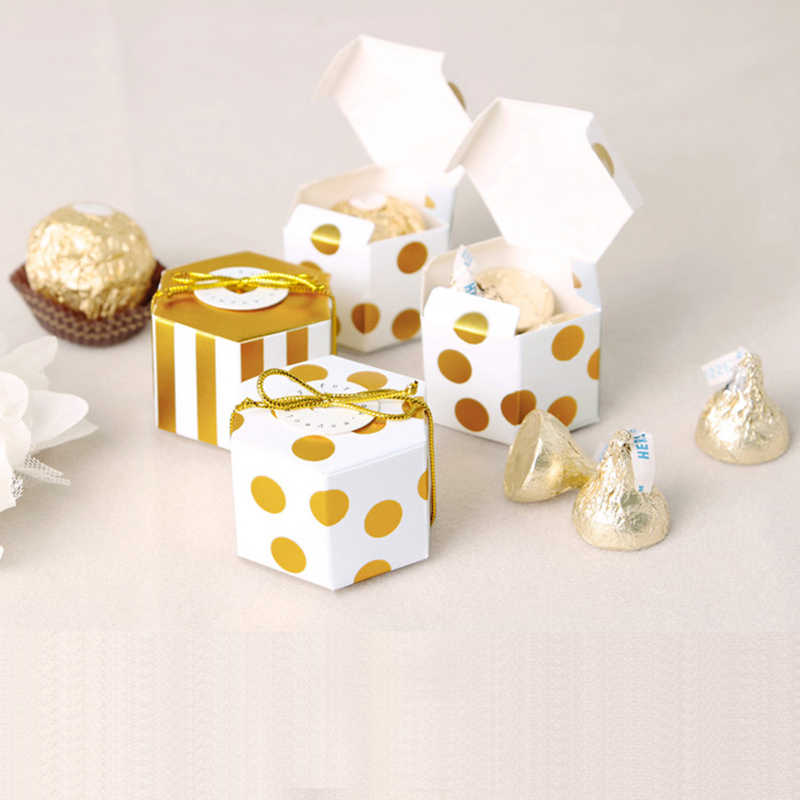 10pcs Small Hexagon Hot Stamping Gift Box Baby Shower Birthday Candy Gift Boxes Of Paper Chocolate Cardboard Wedding Supplies