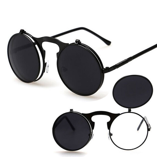 27b8a8e779 Male Steampunk Sunglasses Round glasses Flip Double Sun Glasses Men circle  sunglasses for driving mirrored retro oculos de sol