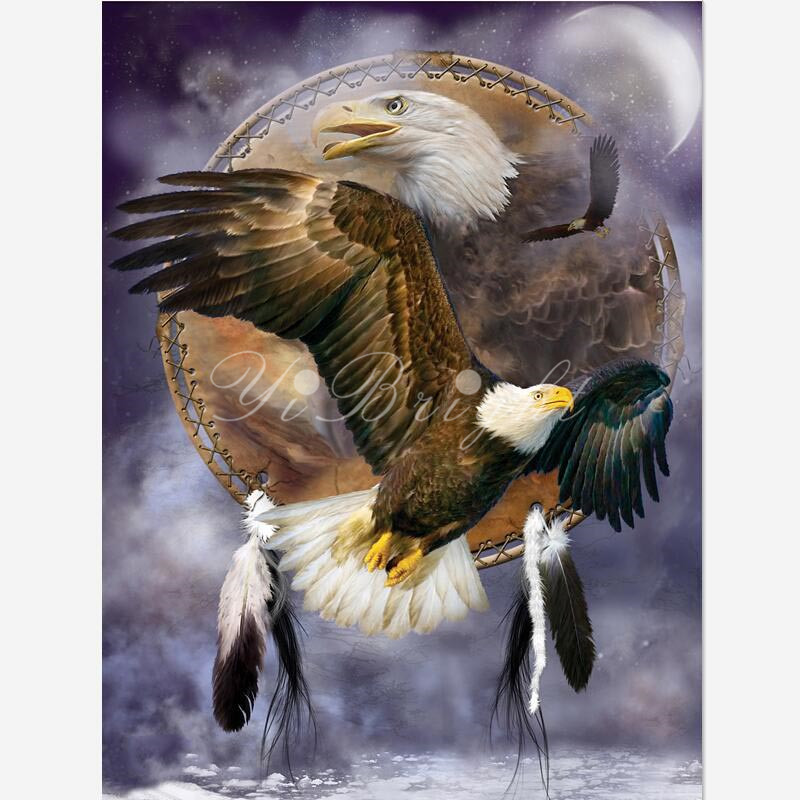 DIY diamante pintura espíritu Eagle_PWD paz Cruz puntada costura casa decorativa Full Square diamante bordado HMOE artes LRR