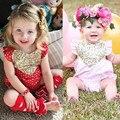 Новорожденный Младенец Девочка Ползунки Комбинезон Блестки Сердце Любовь Наряды Красный Розовый Девушки Милые Сердцу Блесток Ползунки 0-24 месяцев
