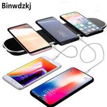Беспроводное зарядное устройство 3 в 1 Qi для iPhone X, 8 Plus, быстрая Беспроводная зарядная площадка для Samsung Galaxy S6, S7 Edge, S8, S9 Plus, Note 8, 9