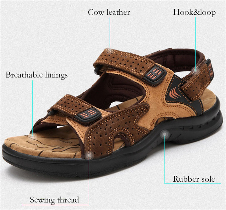 HTB1LPocbcfrK1RkSnb4q6xHRFXaq - ROXDIA Genuine Leather New Fashion Summer Breathable Men Sandals Beach Shoes Men's Causal Shoes Plus Size 39-44 RXM002