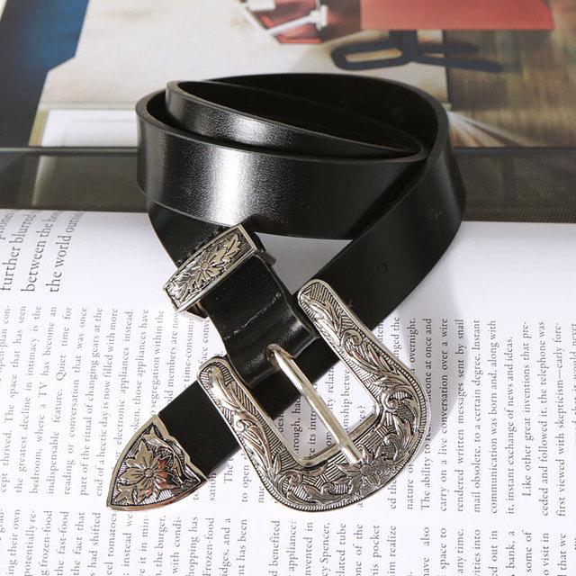 2016 Nova Vintage Metal pin buckle Cinto de Couro Mulher Genuína pele De Vaca Cintos de Moda Floral Curvo Top Qualidade Acessório