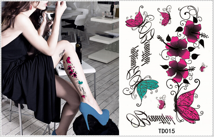 ec93649c62f76 Yeeech Temporary Tattoos Sticker for Women Fake Butterfly Flower Lilies  Designs Arm Leg Sexy Body Art Long Lasting Real Look-in Temporary Tattoos  from ...