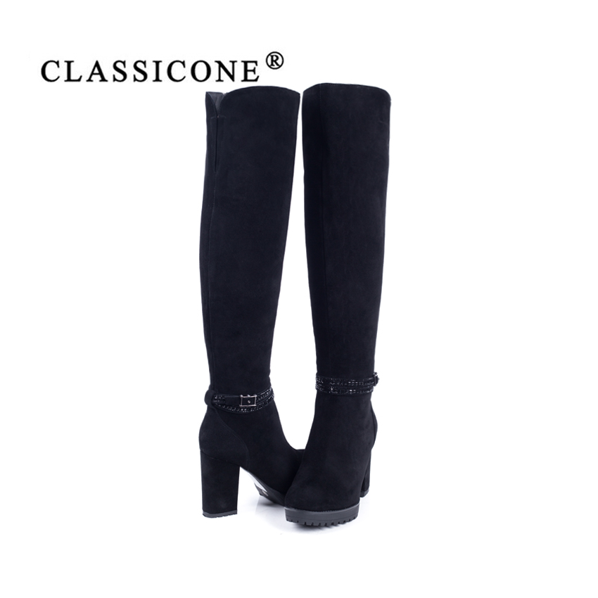 CLASSICONE shoes woman winter high boots genuine leather high heels wool inside warm brand fashion pumps Sole is not slippery in Over the Knee Boots from Shoes
