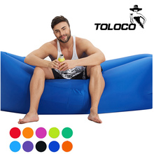 Inflatable Air sofa Fast Inflatable Laybag Sleeping Sofa Hangout Camping Banana Beach Sofa Lounger Bed With Side Pocket