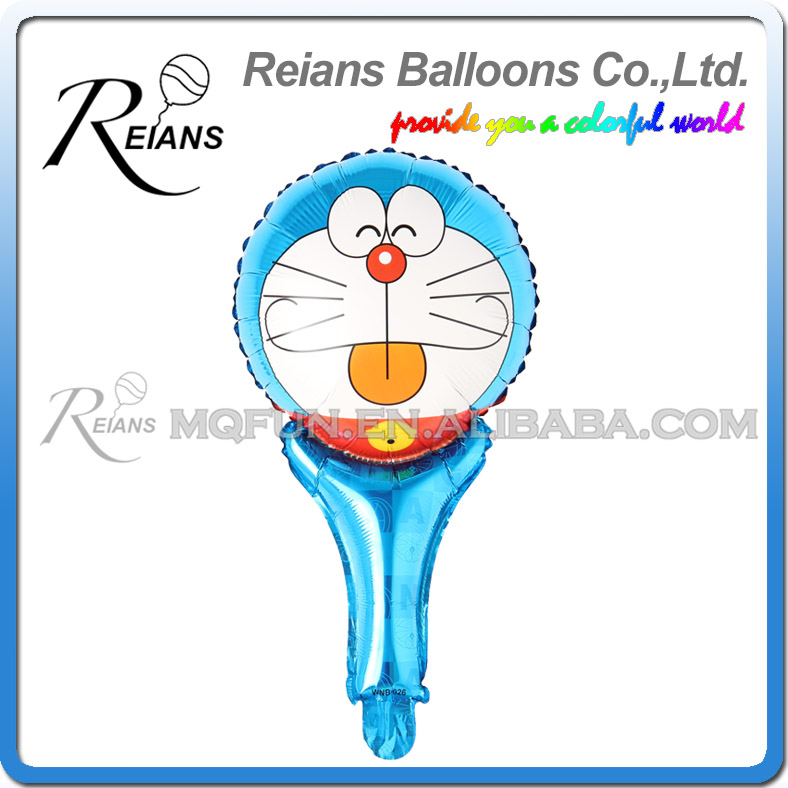 Wholesales 1000pcs 51cm children cartoon Anime Doraemon cheering up stick Happy birthday aluminum foil air balloon Event toy
