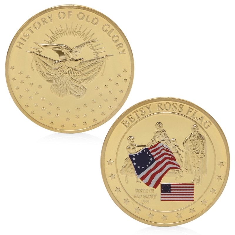 Gift coins collectibles Betsy Ross Flag History Of Old Glory Gold Plated Commemorative Challenge Coins