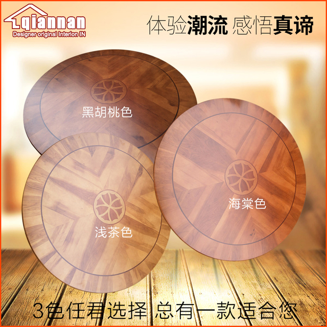 Decorative Pattern Solid Oak Wood Turntable Bearing Lazy Susan Dining Table Swivel Plate 700mm 28inch