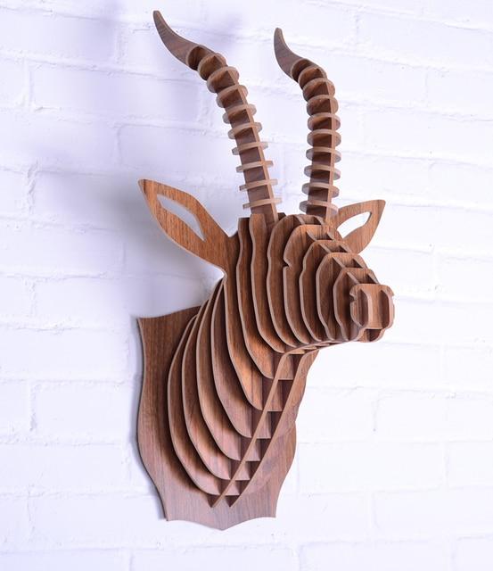 Aliexpress Com Buy Nodic Goat Head Wooden Wall Art Craft Diy Wood