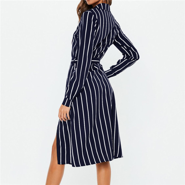 2019 Chiffon Summer Dress Women Striped Turn Down Collar Beach Dress Long Sleeve Casual Mid Calf Sundress Streetwear Robe Femme