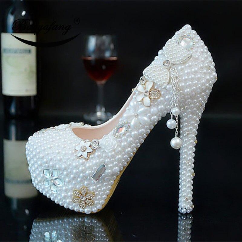 바오 yafang 2019 새로운 도착 여자 결혼식 신발 화이트 진주 활 신부 파티 드레스 신발 여자 하이힐 플랫폼 신발-에서여성용 펌프부터 신발 의  그룹 1