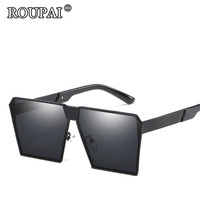 ROUPAI Brand 2018 Vintage Steampunk Square Sunglasses Men Female Oversized Sun Glasses For Woman Male Oculos