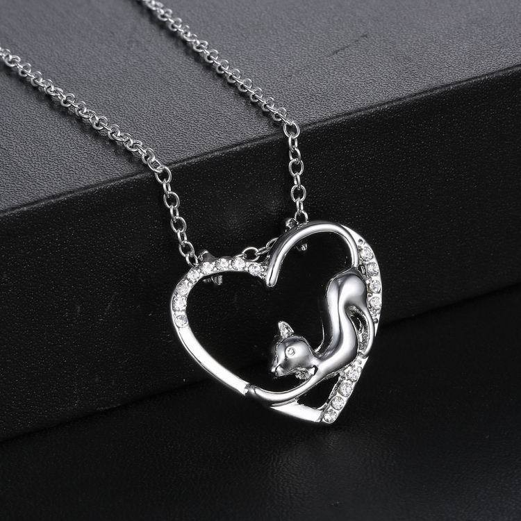 CAT CRYSTAL PENDANT NECKLACE NEW LOVELY CAT PAW BLACK WHITE 2 CAT ON HEART CRYSTAL PENDANT NECKLACE-Cat Jewelry-Free Shipping NEW LOVELY CAT PAW BLACK WHITE 2 CAT ON HEART CRYSTAL PENDANT NECKLACE-Cat Jewelry-Free Shipping HTB1LPpoLFXXXXX
