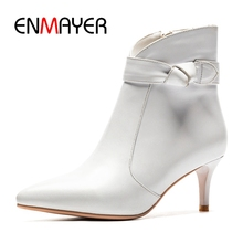 ENMAYER Women Ankle boots pointed toe botas mujer women short thin heel fashion female Size 34-43 ZYL992