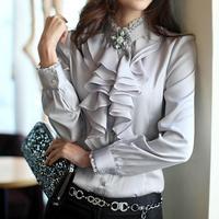 Spitze Stehen Kragen Rüschen Frauen Fashion Shirts High Quality Langarm Satin OL Bluse Mujer Blusa Chemise Plus Größe S-XXL