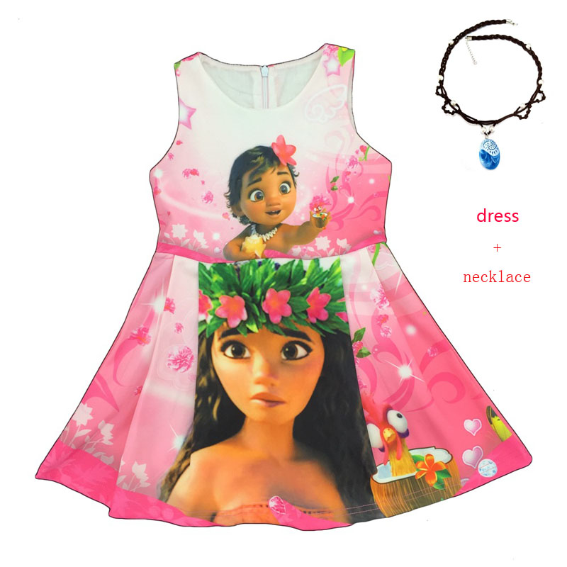 2017 vaiana kids Girls Clothing Dresses Printing Moana Teenagers Dress + necklace Summer Sleeveless Christmas Carnival Costumes