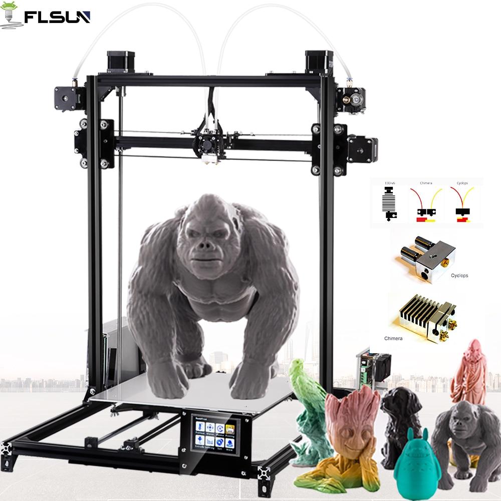 2019 Flsun 3D Imprimante Grande Zone D'impression 300*300*420mm Double Extrudeuse Écran Tactile Auto Nivellement 3D-Printer wifi Chauffée Lit