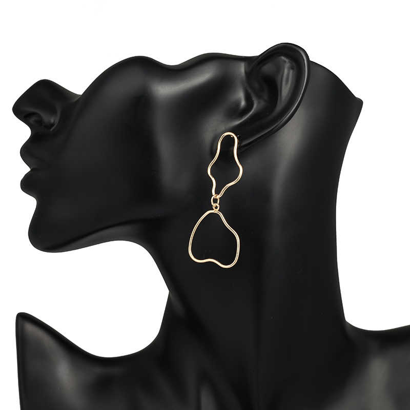 TMXK angele Fashion metalowe kolczyki damskie 2019 nowy złoty geometryczny złoty kolor elementy kwadratowe kolczyki biżuteria