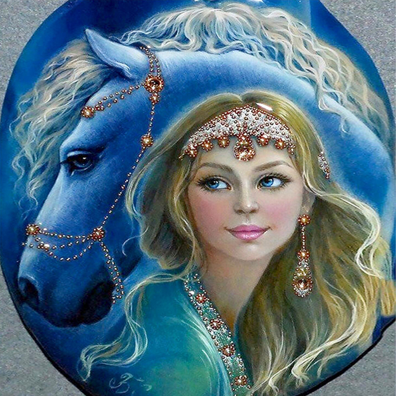 5d diy diamond painting beauty girl with horse diamond painting cross stitch rhinestones embroidery wall sticker for decoration