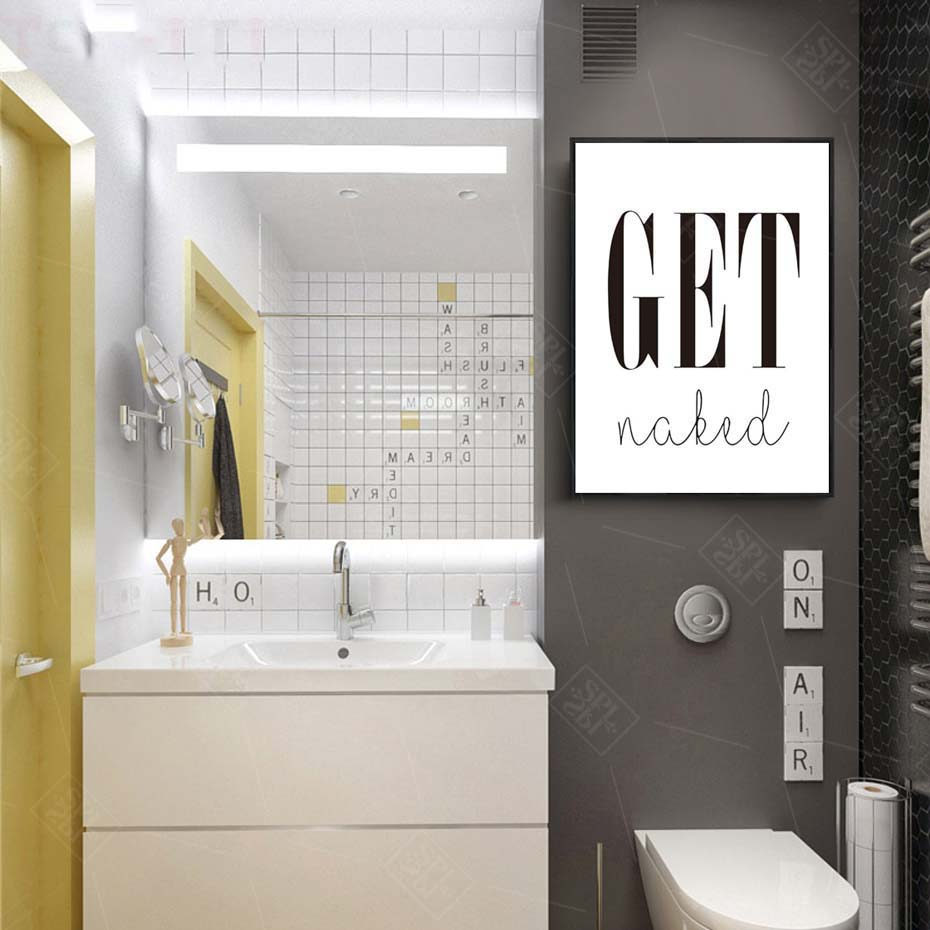 Image 5 - Get Naked Poster&Prints Toilet Life Quote Modular Wall Art Wall Picture For Bathroom Modern Canvas Painting Washroom Home Decor-in Painting & Calligraphy from Home & Garden
