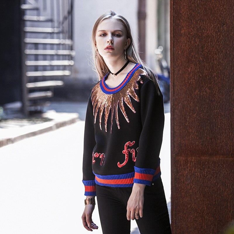 Women Casual Hoodies Jumper Sweatshirt Female Black Top -9246