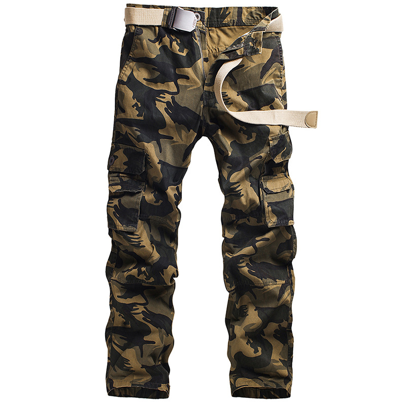Multi Pockets Camouflage Men Military Uniforms Overalls Loose Leisure Trousers Cotton Slacks Cargo Large Mens Casual Trousers charmkpr mens military outdoor loose large size cotton multi pockets cargo pants