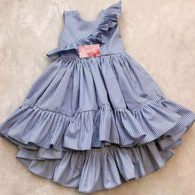 UK Toddler Kid Baby Girl Summer Striped Princess Party Pageant Ruffle D