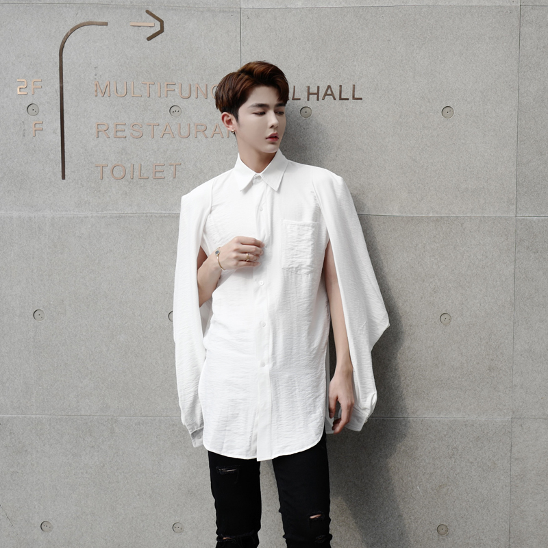 771b623cb5c 2017 Hair Stylist Shirt Male Long Sleeve slim fashion shirts Japanese  Street Trend Non-mainstream