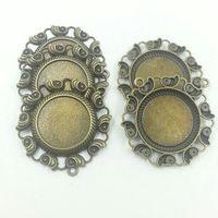 25mm Cabochon Setting Cameo Base Tray Blank Pendants Bronze Zinc Alloy Fashion Pendant T607 10pcs/Lot Jewelry Findings