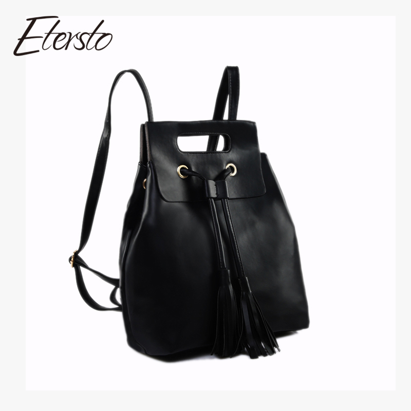 Etersto Brand 2017 Women Leather Backpack For Teenagers Girls Fashion Tassel Female Bag High Quality Minimalist