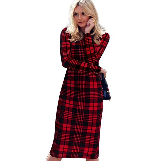 5d9a81528d1 VfEmage женское осень элегантное шотландка в клетку плед с длинным рукавом  носить на работу деловое офисное