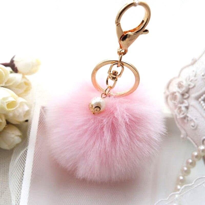White Bunny Handbag Cute Bag Intimation Pearl Fluffy Rabbit Fur Pom Pom Ball Keychain To Locate Keys Stylish Fashion 12 Colors