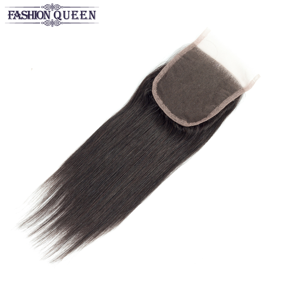 Fashion Queen Straight Hair Natural Color Peruvian Human Hair Weave 4 Bundles with Lace Closure Non-remy Hair Extensions