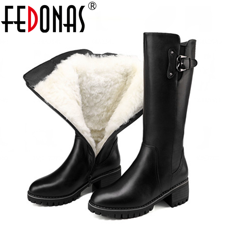 FEDONAS Top Quality Women Genuine Leather Boots Thick Wool Warm Shoes Woman Winter Warm Snow Boots Mid-calf High Heels Boots fedonas new fashion women genuine leather winter warm wool snow boots women ladies flats heels comfortable casual shoes woman