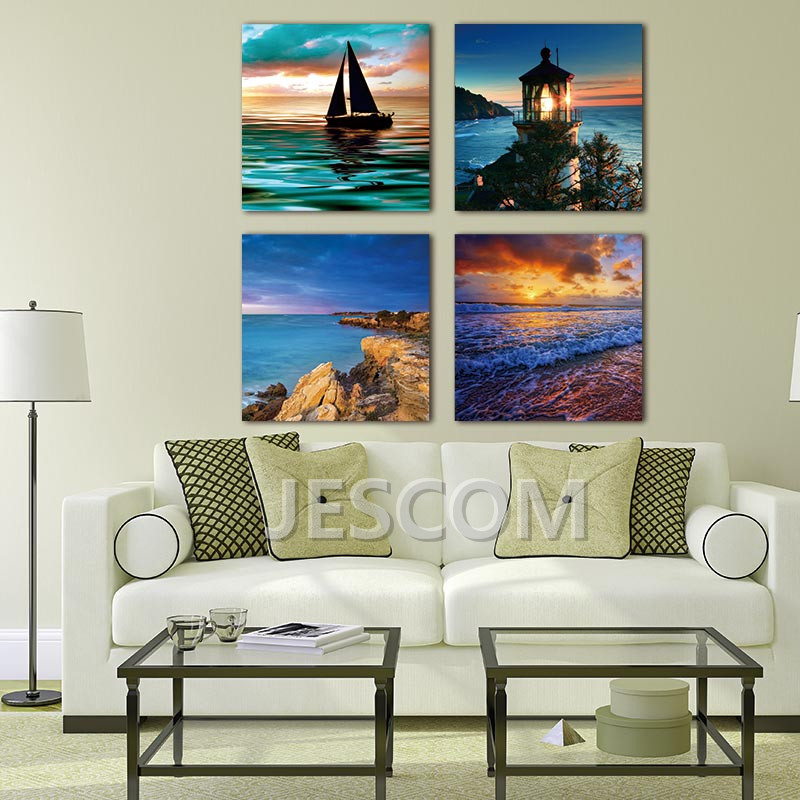 4 Piece Sunset Ocean Sea Surf Sailing Painting Canvas Art Print on Canvas for Study <font><b>Bed</b></font> Room Living Room Wall Decor Framed