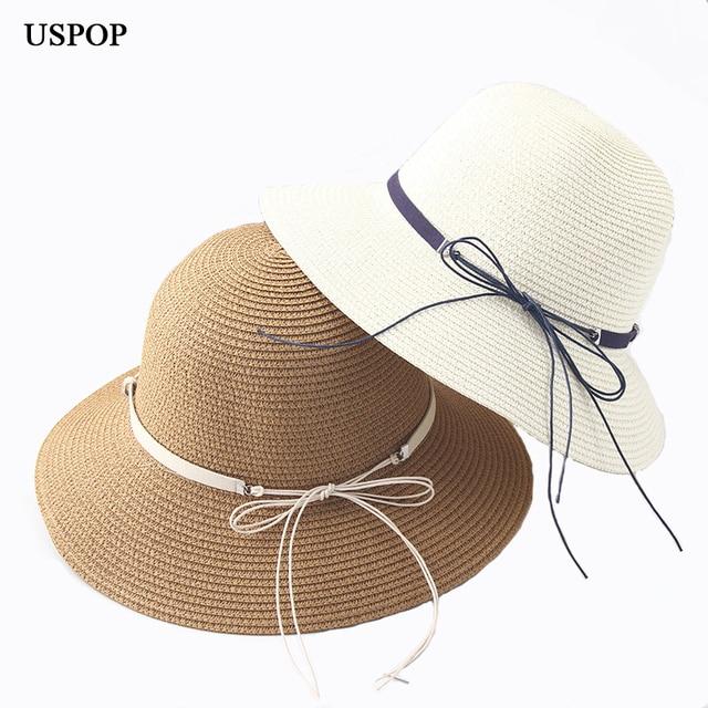 06818cc826e07a 2018 New Fashion women sun hats female big brim bow-knot straw bucket sun  hat
