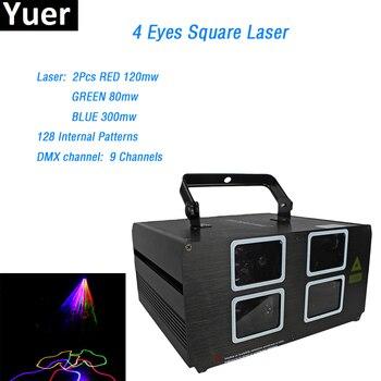 цена на 60W 4 Lens Red Green Blue RGB Beam Laser Light DMX 512 Professional DJ Party Show Club Holiday Home Bar Disco Stage Lighting