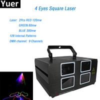 60W 4 Lens Red Green Blue RGB Beam Laser Light DMX 512 Professional DJ Party Show Club Holiday Home Bar Disco Stage Lighting