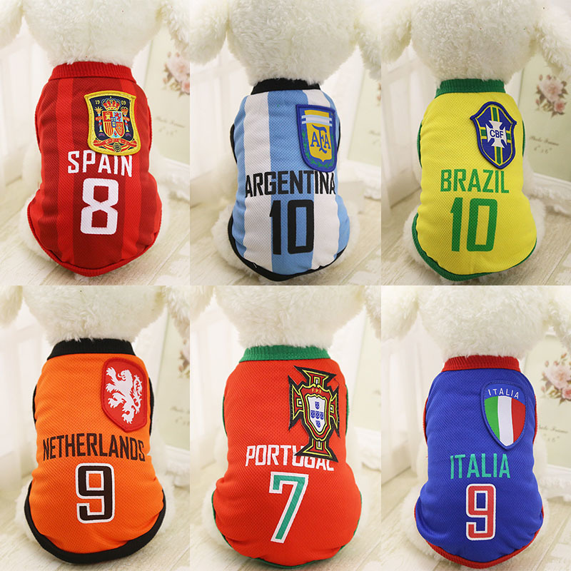 KIMHOME PET Cheap Dog Clothes With Free Shipping World Cup Dog Vest 6 Country Soccer Dog Shirt 4 NBA Jersey Basketball Uniforms
