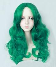 Sailor Moon Kaioh Michiru Sailor Neptune 65cm Long Wavy Lake Green Heat Resistant Synthetic Hair Cosplay Costume Wig + Cap стоимость