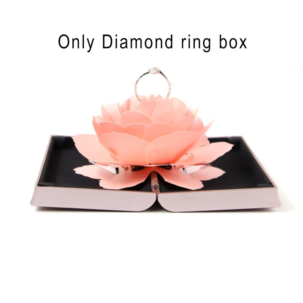 3D Solid Romantic Folding Flower Ring Box Rotating Rose Ring Box Birthday Valentine's Day Wedding Jewelry Ring Boxes