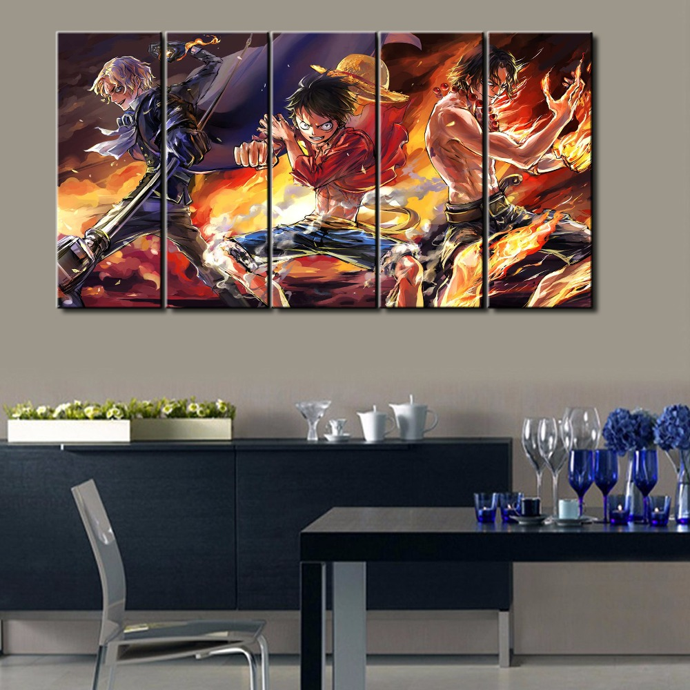Hot Sel 5 Pcs Modern Decorative One Piece Cuadros Painting